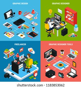Colorful 2x2 concept with graphic design artists and various tools for work 3d isometric isolated vector illustration
