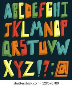 Colorful 3d alphabet set