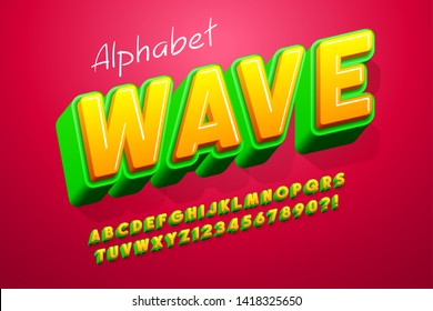 Colorful 3d display font design, alphabet, letters and numbers.13 degree skew