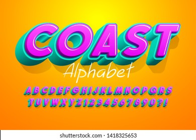 Colorful 3d display font design, alphabet, letters and numbers. 15 degree skew