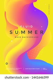 Colorful 3d flow shape. Liquid wave modern flyer. Fluid summer background. Vector graphic