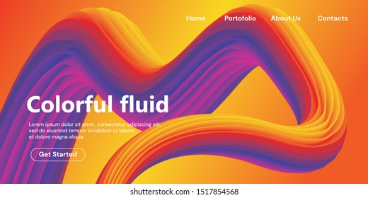 Colorful 3D Fluid Abstract Landing Page Design template, shape wave with gradient background