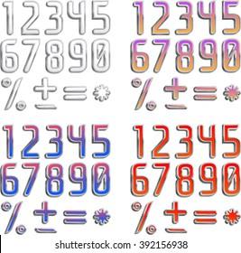 Font 4 Colors Orange Purple Green Stock Vector (Royalty Free