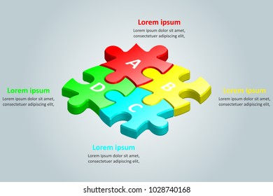 Colorful 3d group of jigsaw puzzle for Business idea graphic design concept