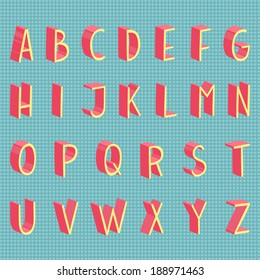 Colorful 3d hand drawn vector flat modern full alphabet. The vector Roman alphabet. With grey shadow.