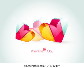 Colorful 3D hearts for Happy Valentine's Day celebration on shiny sky blue background.