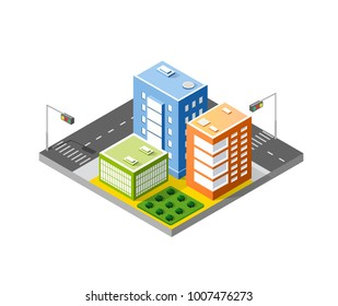 Colorful 3D isometric city skyscrapers set object for design, presentation, real estate agency