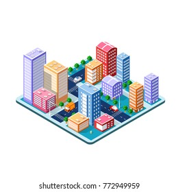 Colorful 3D isometric city of skyscrapers, houses and city street of the urban multicolored landscape for design and conceptual presentation