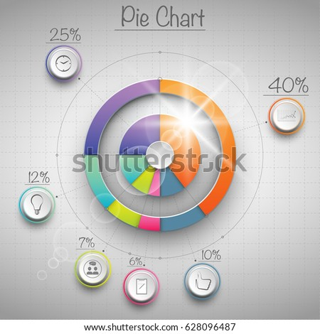 Colorful 3 D Pie Chart Flare Above Stock Vector Royalty Free