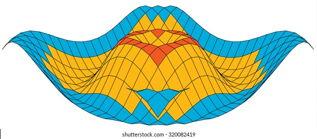 Colorful 3d surface graph of a mathematical function