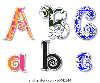 Colorful 3D Swirl ABC Letters with custom patterns (swatches) included. to mix  and match or color to your specific needs. eps 10