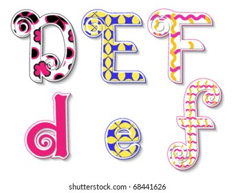 Colorful 3D Swirl DEF Letters with custom patterns (swatches) included. to mix  and match or color to your specific needs. eps 10