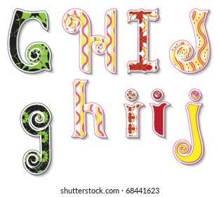 Colorful 3D Swirl GHIJ Letters with custom patterns (swatches) included. to mix  and match or color to your desired needs. eps 10