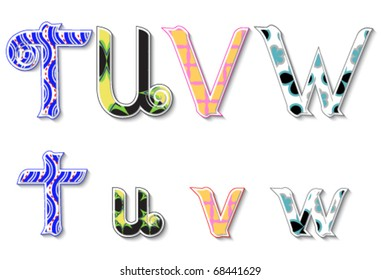 Colorful 3D Swirl TUVW Letters with custom patterns (swatches) included. to mix  and match or color to your desired needs. eps10