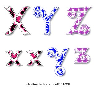 Colorful 3D Swirl XYZ Letters with custom patterns (swatches) included to mix  and match or color to your desired needs. eps 10