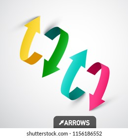 Colorful 3D Vector Arrows. Arrow Symbol Design.