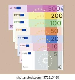 Colorful 500 euro, 200 euro, 100 euro, 50 euro, 20 euro, 10 euro, 5 euro banknotes on a wood background. Flat design vector illustration.