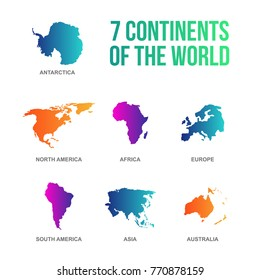 colorful 7 continents of the world vector illustration