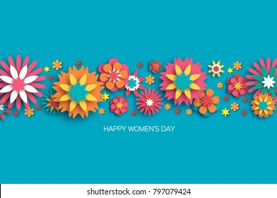 Colorful 8 March. Happy Women s Day. Trendy Mother s Day. Paper cut Floral Greeting card. Origami flower. Space for Text. Spring blossom on sky blue. Seasonal holiday. Modern paper decoration.