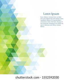 Colorful abstract background of blue, green and white triangles. Vector pattern of colored geometric shapes.
