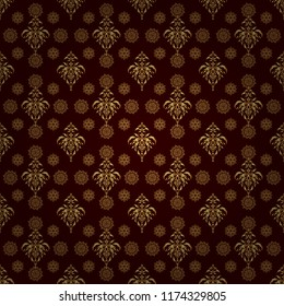Colorful abstract background. Bright seamless pattern with vector geometric ornament in Christmas traditional colors (golden on brown). Ethnic and tribal motifs. Ornamental vivid wallpaper.