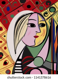 Colorful abstract background, cubism art style, woman looking