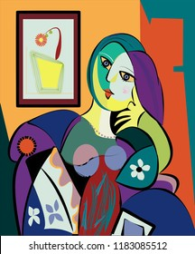 Colorful abstract background, cubism art style, portrait of woman sitting