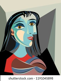 Colorful abstract background, cubism art style, black haired woman