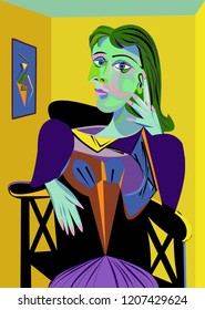 Colorful abstract background, cubism art style, woman on chair