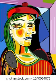 Colorful abstract background, cubism art style, woman red hat