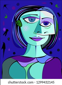 Colorful abstract background, cubism art style,blue woman portrait