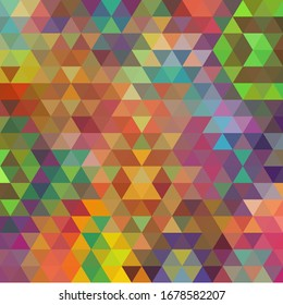 Colorful abstract background from multi-colored triangles. Vector pattern of colored geometric shapes.