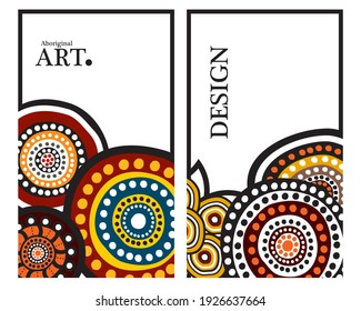 Colorful Abstract Banner Template with aboriginal art style for Web Design, Landing page, and Print Material vector