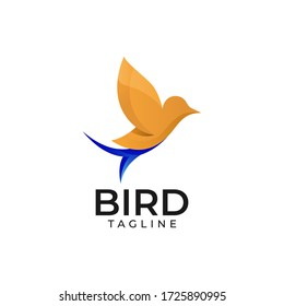 Colorful abstract bird logo template on white isolated background logo design vector