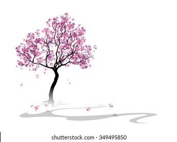 Colorful abstract blooming cherry tree. Template with place for inscription. Spring background with cherry blossoms. Spring landcsape. Watercolor imitation. Vector, EPS 10.