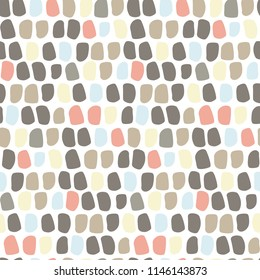 Colorful abstract brush strokes seamless pattern. Stone texture. Pastel elements on white background. Doodle drawing. Scandinavian style. Cute vector design for textile print, scrapbook, gift wrap.