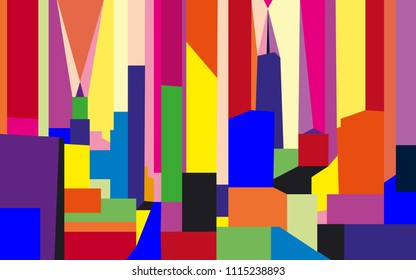 Colorful abstract cityscape of New York.