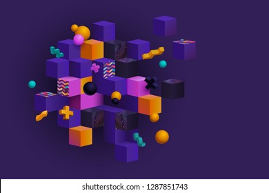 Colorful abstract composition with 3d cubes, spheres and shapes, memphis inspired. Eps 10 vector.