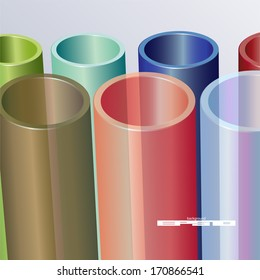 colorful abstract composition of color tubes