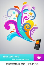 colorful abstract concept background with a mobile phone and many design elements