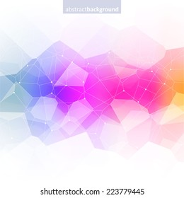 Colorful abstract crystal background. Ice or jewel structure. Pink, Yellow and blue bright colors.