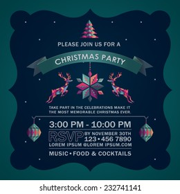 Colorful Abstract Deer Christmas Party Invitation Card.