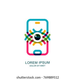 Colorful abstract eye on mobile phone screen. Vector logo, sign, emblem design element. Concept for mobile app, retina scan and biometric recognition, cyber vision technology.