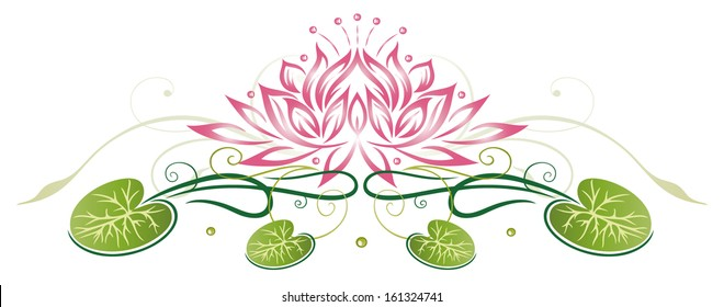 Colorful abstract and filigree lotus flower in pink and green