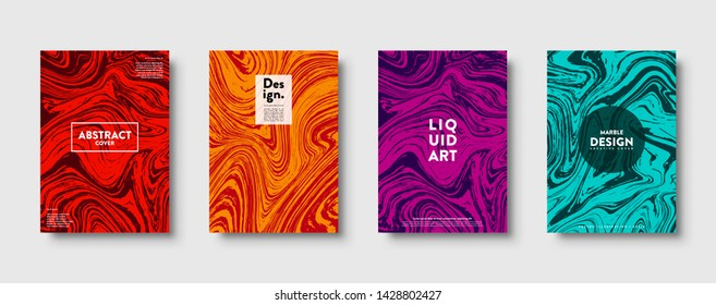 Colorful abstract geometric background. Liquid dynamic lined gradient waves. Fluid marble texture. Modern covers set. Eps10 vector
