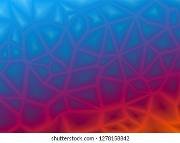 Colorful abstract geometric background with triangular polygonal polygons. From ice blue to fire red. Smooth transition. Cracks