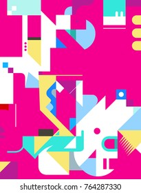 Colorful abstract geometric texture background. Vertically oriented. Vector illustration.