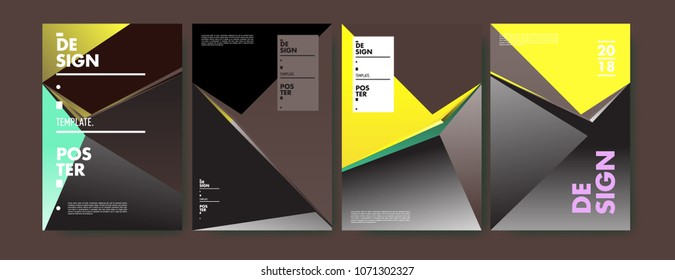 Colorful abstract geometric triangle poster and cover design. Minimal geometric pattern gradients. Eps10 vector