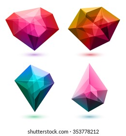 Colorful abstract glass gemstones crystals set. Vector illustration. Good for logo design.