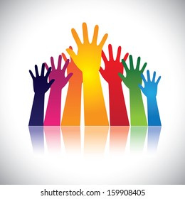 Colorful abstract hand vectors raised together showing unity. This unusual graphic also represents happy children playing, people at party, people asking help, employees protest and demonstration, etc